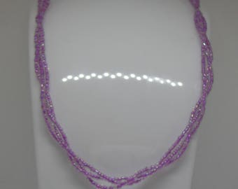 Gorgeous Lilac Lustre 3 Strand Seedbead Twist Necklace