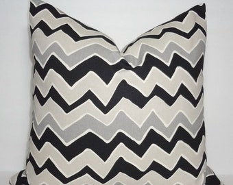 SIZZLING SUMMER SALE Black & Grey Zig Zag Chevron Pillow Covers Throw Pillows Decorative All Sizes