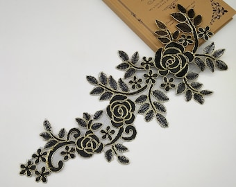1 Pair Black Gold Lace Applique Collar Altered Clothing Sewing Bridal Headwear Wedding