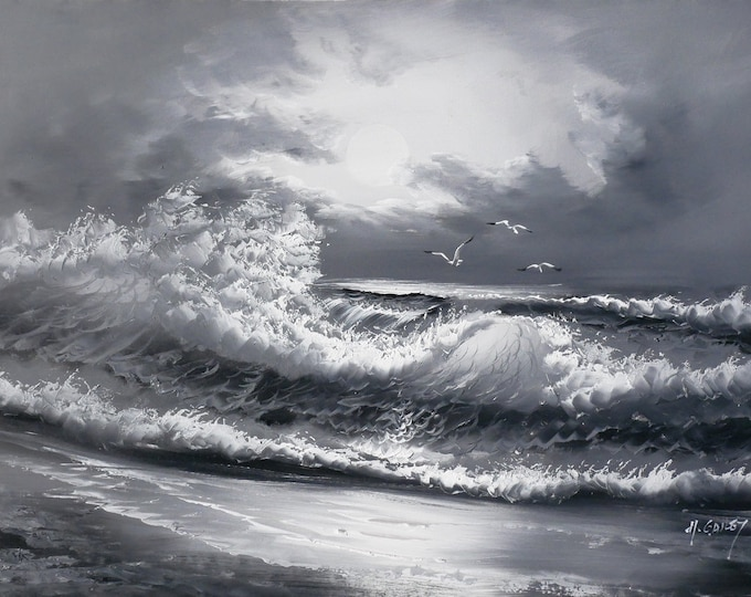 Night Ocean Art Moonlight Wave  Painting Grey Scale Oil on Canvas Big Sur Wall Art Beautiful Decor