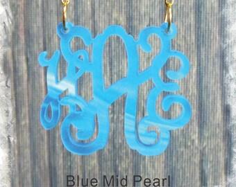 Acrylic Monogram Necklace - Vine Monogram 3 Initial Name Acrylic Monogram Jewelry - Blue Mid Pearl Necklace