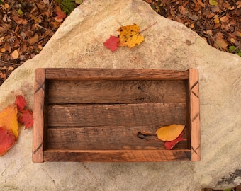 Wooden Tray Box, Reclaimed Barn Wood, Handmade Table Tray, Recycled Weathered Wood, Gift, Accessories, Housewarming, Home