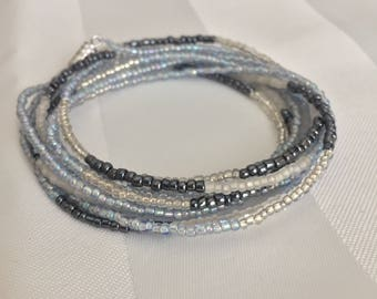 Tiny Seed Bead Multiwrap in Blue/Grey/Clear Mix - Tiny Seed Bead Jewelry - Multiwrap Bracelet - Multiwrap Necklace