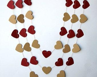 Rustic wedding decor, Wedding party decoration, Maroon brown garland, Wedding heart garland, Rustic kraft brown garland, KCO-3048
