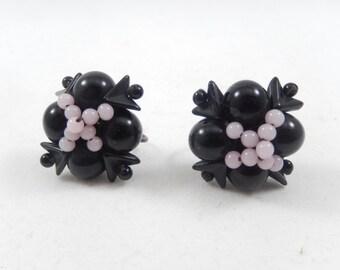 Vintage Black and Pink Beaded Screwback Earrings