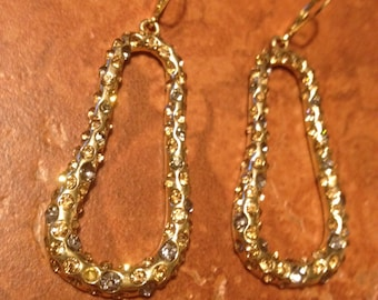 Vintage Gold Dangle Rhinestone Dangle Earrings Jewelry