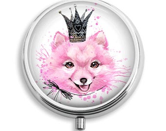 Pink Princess Dog Wearing Crown Pill Box Case Trinket Box Vitamin Holder Medicine Box Mint Tin Gifts For Her