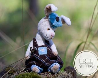 Artist bunny rabbit Teddy bunny rabbit Gift for woman Beige bunny rabbit White rabbit rabbit OOAK Plush bunny rabbit Collectible Teddy bear