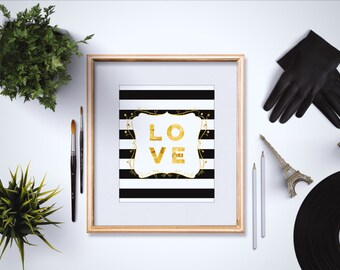 Love Art Print - Love Quote Print - Love Artwork - Gold Love Print - Love Quotes Wall Art - Girly Art - Typography Print - Modern Home Decor