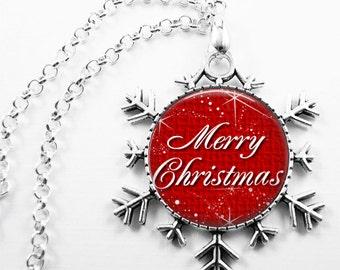 Christmas Necklace Christmas Jewelry Glass Tile Necklace  Glass Tile Jewelry Holiday Necklace Holiday Jewelry Snowflake Jewelry