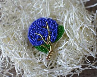 Royal Blue Hydrangea Beaded Brooch Pin