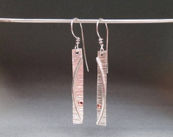 Long Textured Earrings with Copper Dot