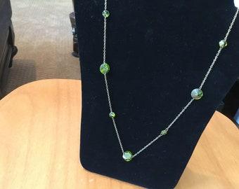"Costume jewelry green stones 22"" long"