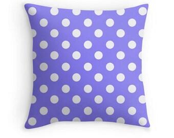 Periwinkle Polka Dot Pillow, Polka Dot Bedding, Periwinkle Pillow, Polka Dot Cushion, Periwinkle Bedding, Polka Dot Pillow Cover, Periwinkle
