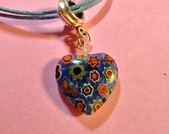 Floral Lampwork Bead Heart Pendant Necklace