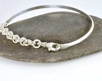 Sterling Silver Bangle,  Bracelet, Stackable Bangle, Modern Bangle, Chain Bangle, Stackable, Unique, Bangle, Sterling, Charm bracelet