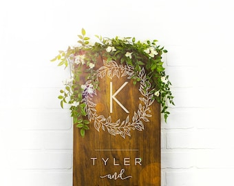 Custom Name Sign Rustic Wedding Wood Sign Bridal Gift Wedding Gift Rustic Wedding Decor Initial Sign Custom Wedding Sign Bridal (GP1122-WM)
