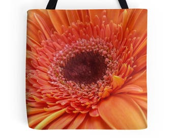 Orange Gerbera Daisy Bag, Gerbera Daisy Purse, Orange Daisy Tote Bag, Daisy Print, Orange Daisy Print, Daisy Photo, Flower Print, Daisy Bag