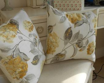 Two handmade Laura Ashley cushions in hydrangea camomile