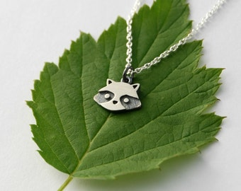 Mini raccoon pendant sterling silver woodland jewelry