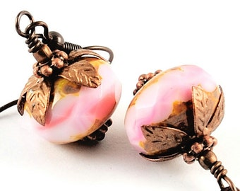 Pink Earrings Glass Jewelry Beaded Earrings in Opaque Pale Pink Faceted Glass Earrings Antiqued Copper, Think Pink