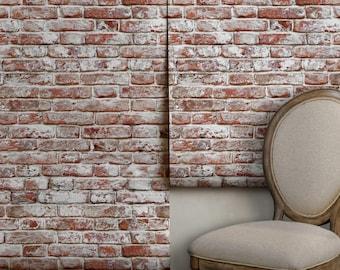 Whitewashed Antique Brick Removable Peel 'n Stick Wallpaper