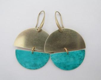 Brass Boho Geometric Patina Earrings - Teal