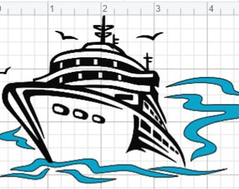 Cruise Ship Design SVG EPS DXF pdf Studio 3 Cut Files