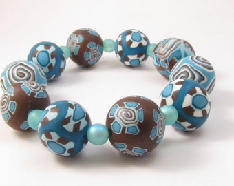 Stackable Chocolate and Aqua Beaded Stretch Bracelet Polymer Clay Ladies Jewelry Gift for Girlfriend Wife Mother Anniversary Present