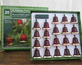 Bells String of Lights Musical Vintage Holiday Time
