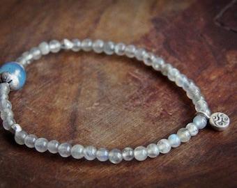 Handmade Yoga Bracelet, Grey Moonstones Yoga Bracelet, Yoga Gift, Yoga Jewelry, OM Gift, Minimalist bracelet, Moonstone bracelet, OM, Yoga,