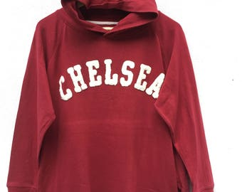 Vintage Rare 90s  Listen Heartbeat One & Only Chelsea Red Hoodie