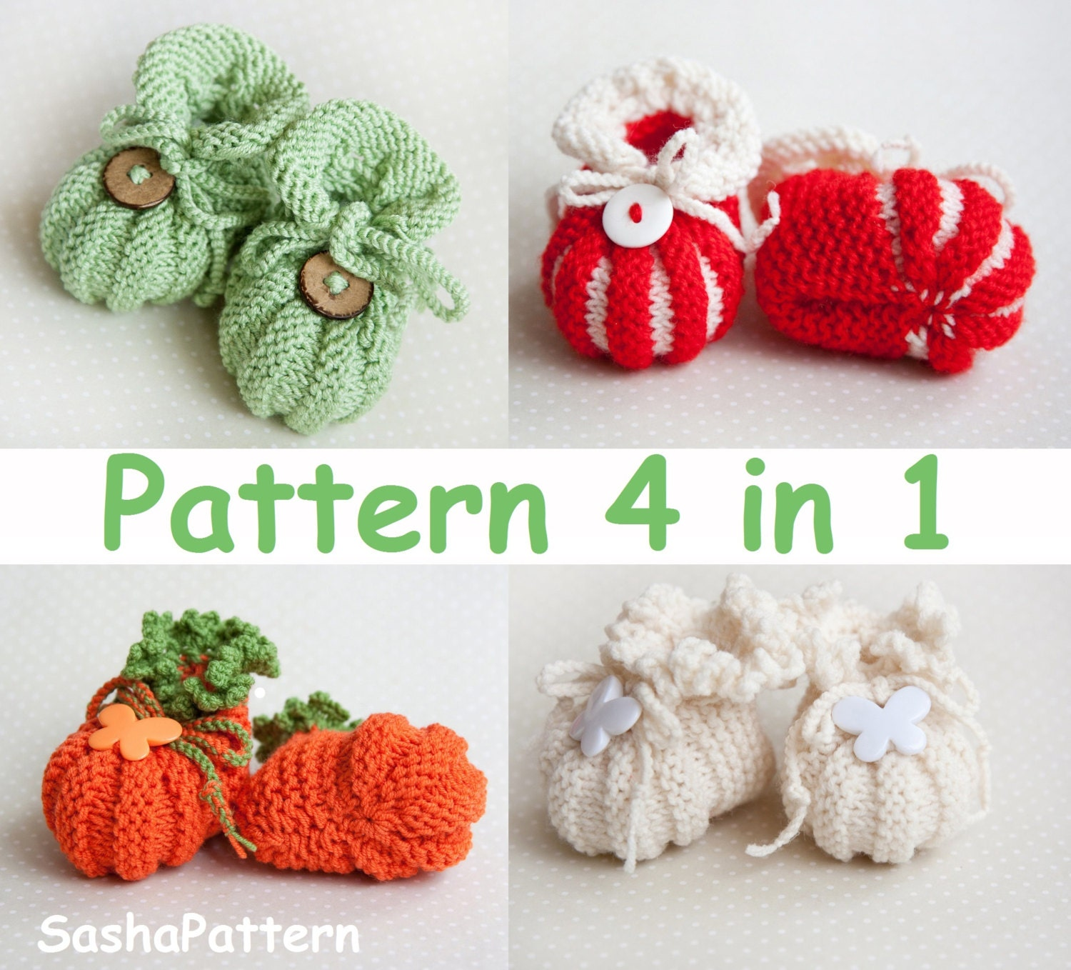 Pumpkin Baby Booties Knitting Pattern - Baby Shoes Pattern - 4 ...