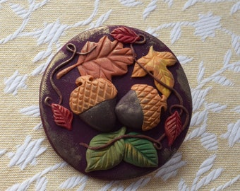 Fall Thanksgiving Brooch by Raquel at the WRC pin hand sculpted from polymer clay THANKSGIVING pin
