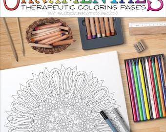 Sunflower Delight Mandala Coloring Page OrnaMENTALs #0025 PDF