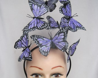 Lavender Monarch Butterflies with a Touch of Shimmer Headpiece