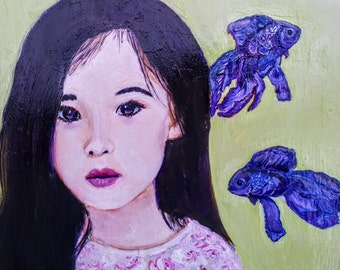 Lily, painted on wood, surreal, Pop Art, portrait, child, little one, Asian child, Painting, Original, Acrylic, 16.25x14