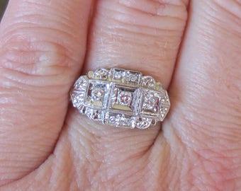 ANTIQUE DIAMOND DECO Ring - 14k Sollid White Gold & Diamond Antique Ring