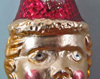 Glass 607 Ornament Victorian Clown Head Inge Glas W Germany Star Crown Hanger