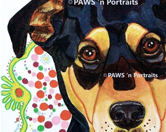 """PAWS'nPortraits - """"Savannah""""~ Dog painting 8"""" x 10"""" x .75"""", Not Framed - FREE Shipping"""