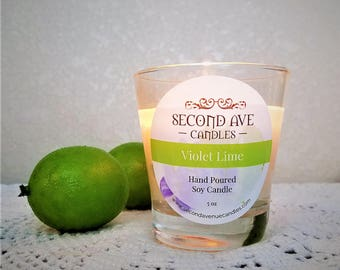 Violet Lime Scented 5oz Glass Container Candle