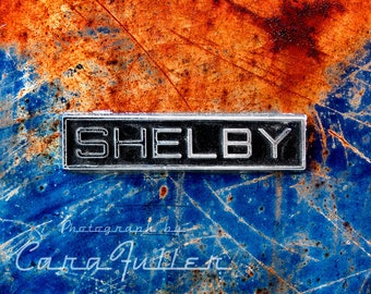 Mustang Shelby Emblem on Blue Ford Photograph