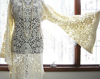 Lace bohemian wedding dress, cream lace dress, hippie dress, formal dress, bell sleeves, size medium-large by Lily Whitepad