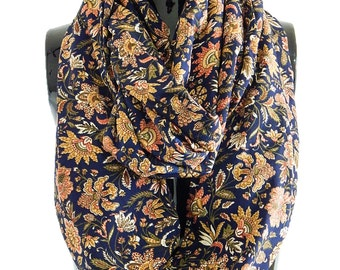 Navy Blue Infinity Scarf, Floral Loop Scarf, Oversized Scarf for Her, Boho Chic Scarf, Circle Scarf, Floral Infinity Scarf