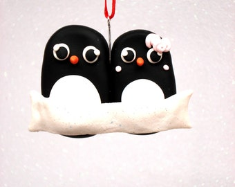 Penguin Family Ornament,  Family of Two Polymer Clay Christmas Ornament Christmas Ornaments Personalized Ornament Custom Family Ornament