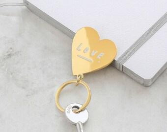 Love Heart Keyring - Love Keyring - Gold Keyring - House Keyring - Key ring - Keyring Heart - Gift For Her - Gold Keychain - New Home Gift