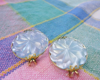 Ornate Vintage Retro Pale Blue Thermoset Push Slip-on Earrings