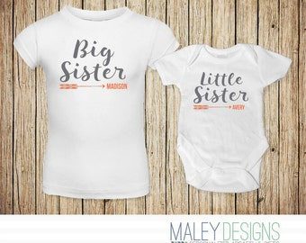 Personalized Matching Sister Outfits, Cute Sister Shirts, Coordinating Sister Outfits, Big Sister Little Sister Outfits