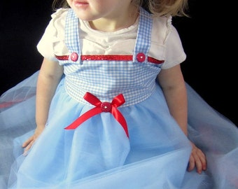 Wonderful Wizard of Oz Costume: Blue and White tutu dress, red sparkle, Dorothy, birthday party, halloween costume, dress-up, adjustable
