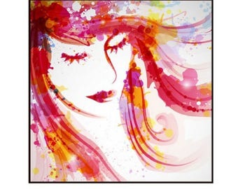 flat square 25mm, woman watercolor